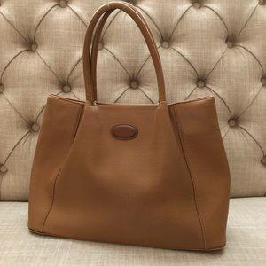 TOD'S Leather Camel Shopping Tote Handbag